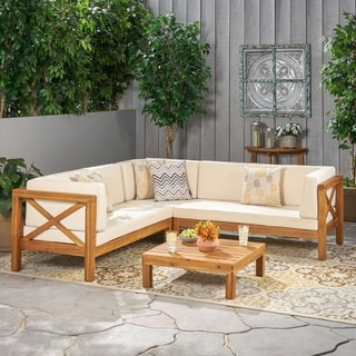 Brava Outdoor 4-Piece Wood Sectional Set w/ Cushions by Christopher Knight Home & Patio Furniture - Outdoor Seating \u0026 Dining For Less | Overstock.com