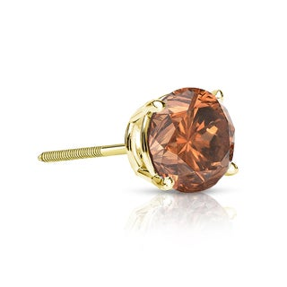 Auriya 14k Gold 1/4ct TDW 4-Prong Screw-Back Round Cut Brown Diamond Single Stud Earring (Brown, SI1-SI2)