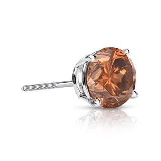 Auriya 14k Gold 1/3ct TDW Brown SINGLE STUD (1) Diamond Earring