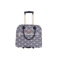 Jenni Chan Aria Snow Flake Fabric 18-inch Carry On Rolling Tote