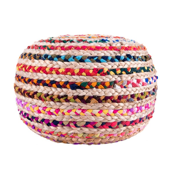 nuLOOM Hand Knitted Jute Twisted Casual Living Disco Cables Pouf