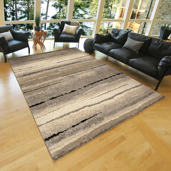 Carolina Weavers Grand Comfort Collection Field of Vision Gray / Beige Shag Area Rug (7'10 x 10'10)