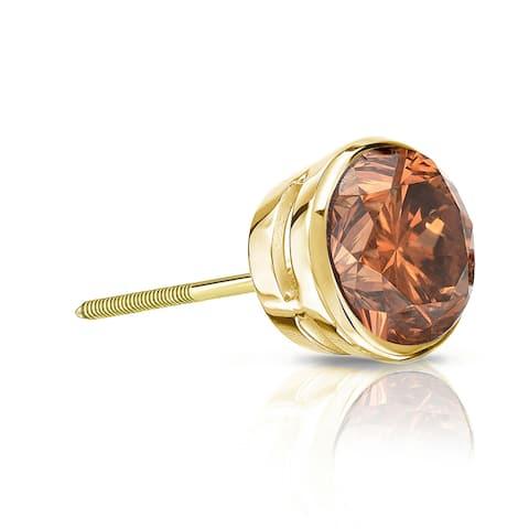 Auriya 1/3ctw Bezel-Set Round Brown Diamond SINGLE (1) Stud Earring 14k Gold