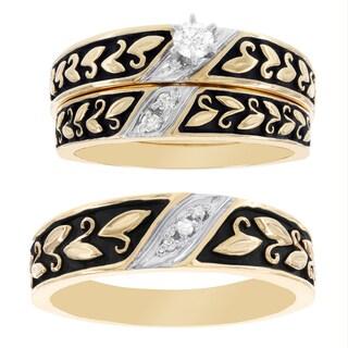 H Star 10k Yellow Gold 1/7ct Diamond Men's and Women's Engagement Ring Trio Bridal Set
