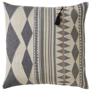 Nikki Chu Tribal Pattern Grey/Ivory Linen Poly Fill Pillow - 22 inch (As Is Item)