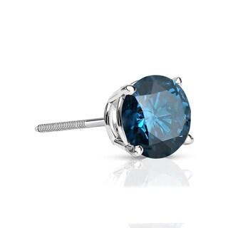 Auriya 14k Gold 1/4ct TDW 4-Prong Screw-Back Round Cut Blue Diamond Single Stud Earring (Blue, SI2-SI3)
