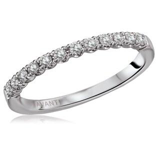 14K White Gold 1/4 CT TDW Diamond U-Shape Gallery Straight Wedding Band Ring (H-I, I1)
