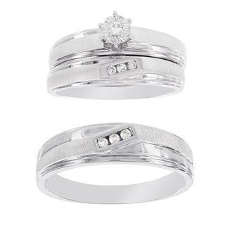 H Star Platina 4 Diamond 1/10ct Men's and Women's Engagement Trio Bridal Set