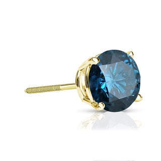 Auriya 14k Gold 1/2ct TDW 4-Prong Screw-Back Round Cut Blue Diamond Single Stud Earring (Blue, SI2-SI3)