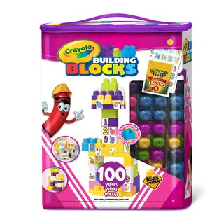 Crayola Kids at Work Girls 100 Piece Tote of Blocks