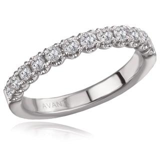14K White Gold 1/2 CT TDW Diamond U-Shape Gallery Straight Wedding Band Ring (H-I, I1)