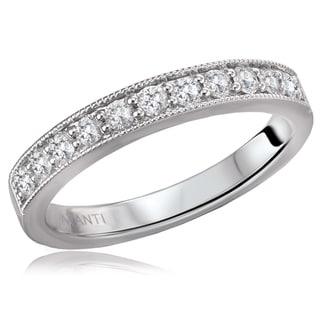 14K White Gold 1/4 CT TDW Diamond Shared Pinpoint Milgrain Detail Wedding Band Ring (H-I, I1)