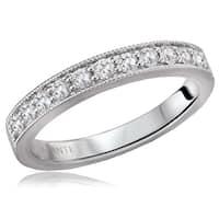 14K White Gold 1/4 CT TDW Diamond Shared Pinpoint Milgrain Detail Wedding Band Ring