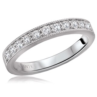 14K White Gold 1/4 CT TDW Diamond Shared Pinpoint Milgrain Detail Wedding Band Ring