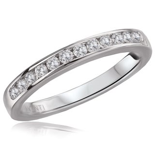 14K White Gold 1/4 CT TDW Round Diamond Channel Set Straight Wedding Band Ring