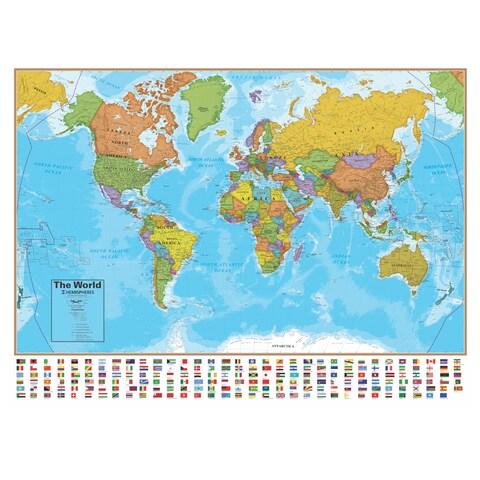 Hemispheres 38 Inch Blue Ocean Series World Wall Map