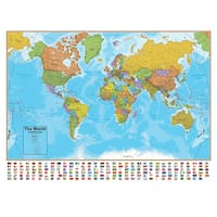 Hemispheres 38 Inch Blue Ocean Series World Wall Map