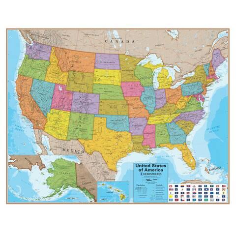 Hemispheres 38 Inch Blue Ocean Series US Wall Map