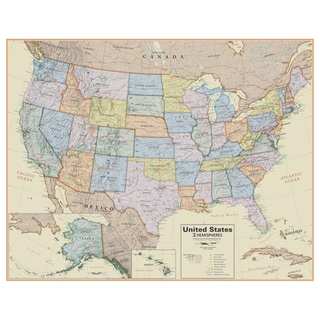 Hemispheres Boardroom Series 38 Inch US Wall Map