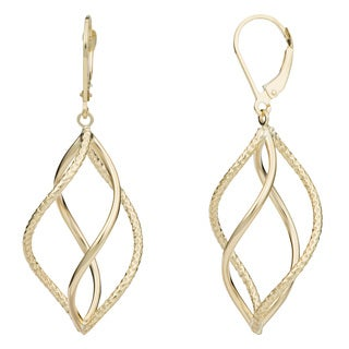 Fremada 14k Yellow Gold Swirl Design Leverback Earrings