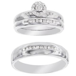 H Star P4 Diamond 3/8ct Men's and Women's Egagement Trio Bridal Set