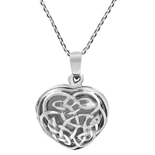 Endless Celtic Knot Heart Locket Sterling Silver Necklace (Thailand)
