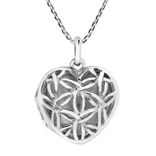 Flower of Life Harmony Heart Locket .925 Silver Necklace (Thailand)