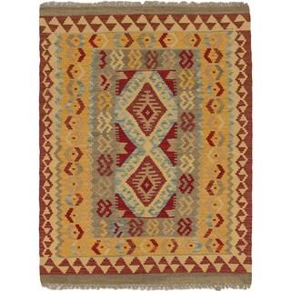 eCarpetGallery Hand-woven Ankara Kilim Multicolor Wool Rug (3'2 x 4'1)