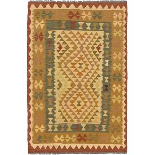 eCarpetGallery Blue/Brown Wool Handwoven Ankara Kilim Rug (3'2 x 4'10)