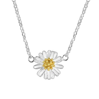Trendy Mini Two Tone Daisy Sterling Silver Necklace (Thailand)