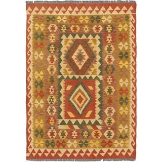 eCarpetGallery Hereke Blue/Brown Wool Kilim (3'3x4'9)