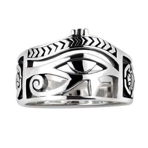 Handmade Egyptian Eye of Horus Ankh Cross Sterling Silver Ring (Thailand)