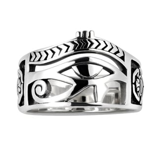 Egyptian Eye of Horus Ankh Cross Sterling Silver Ring (Thailand)