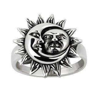 Crescent Celestial Sun And Moon Sterling Silver Ring (Thailand)