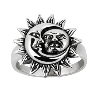 Handmade Crescent Celestial Sun And Moon Sterling Silver Ring (Thailand)