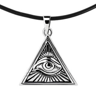 All Seeing Eye Illuminati Triangle Sterling Silver .925 Black Rubber Necklace (Thailand)