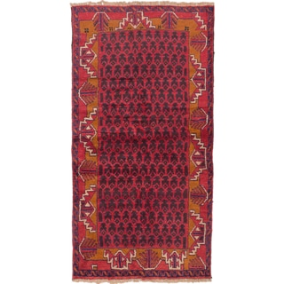 eCarpetGallery Brown/Red Wool Hand-knotted Herati Rug (3'5 x 6'4)
