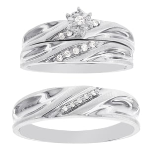 H Star Sterling Silver 1/10ct Diamond Men's and Women's Engagement Trio Bridal Set (I-J, I2-I3)
