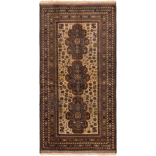 eCarpetGallery Hand-knotted Finest Rizbaft Blue/Brown Wool Rug (3'6 x 7')