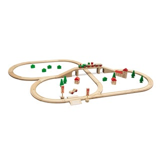 Eichhorn 55 Piece Wooden Train Set with Bridge