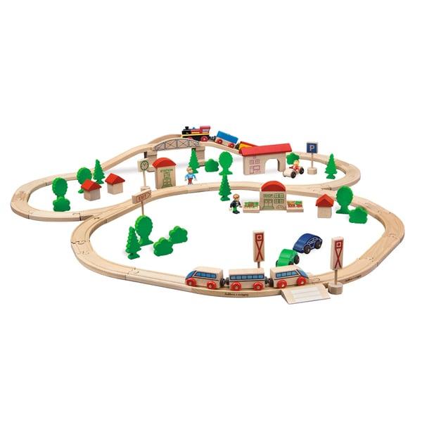 Eichhorn 81 Piece Wooden Train Set with Bridge