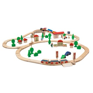 Eichhorn 81 Piece Wooden Train Set with Bridge