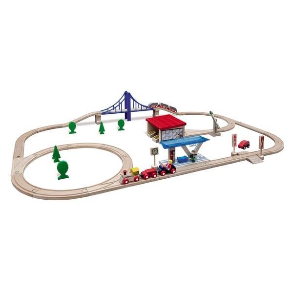 Eichhorn 58 Piece Large Wooden Train Set