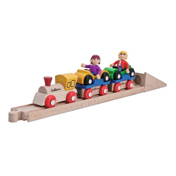 Eichhorn 10 Piece Wooden Car Shuttle Train Set