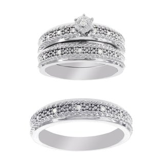 H Star Platina 4 Diamond 1/10ct Men's & Women's Engagement Set Trio (I-J, I2-I3)