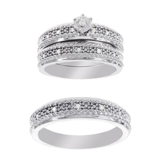 H Star Platina 4 Diamond 1/10ct Men's & Women's Engagement Set Trio