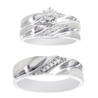 H Star Platina 4 Diamond 1/4ct Men's and Women's Engagement Trio Bridal Set