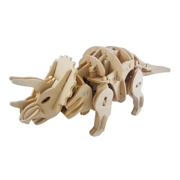 3D Robotic RC Wooden Triceratops Puzzle