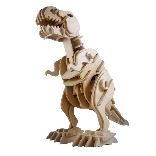 3D Robotic Wooden T Rex Puzzle with Clap Control