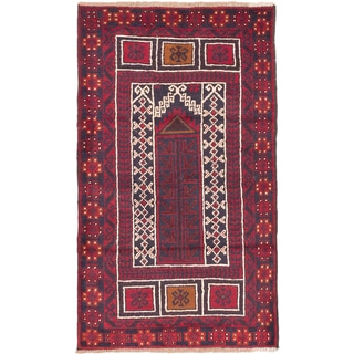 eCarpetGallery Blue/Red Wool Hand-knotted Baluch Rug (2'9 x 4'8)